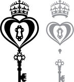 Heart and a key B/W image vector Royalty Free Stock Image