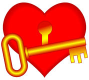 Heart and key Stock Photography
