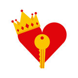 Heart, key and crown icon Royalty Free Stock Photo