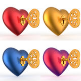 Heart with Key 3D Set Royalty Free Stock Image