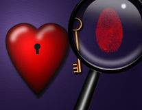 Heart Key ID. Heart Key Finger print and Magnifying glass Royalty Free Stock Photography