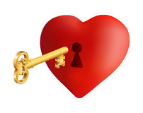Heart with key. Illustration of heart with keyhole and golden key isolated Royalty Free Stock Photography