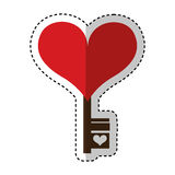 Heart with key isolated icon Stock Images