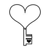 Heart with key isolated icon Stock Photos