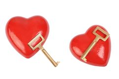 Heart and key. Over white Stock Images
