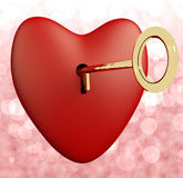 Heart With Key And Pink Bokeh Background Showing Love Romance An Stock Photos