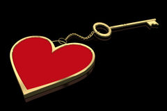Heart key ring isolated on black Royalty Free Stock Images