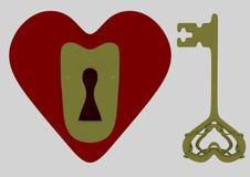 Heart and key set Stock Photos