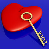 Heart With Key Showing Love Romance. And Valentines Day Royalty Free Stock Image