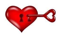 Heart key unlock. Red heart,mean unlock the heart of love Royalty Free Stock Photo