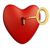 Heart With Key And White Background Showing Love Romance And Val Royalty Free Stock Photos