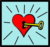 Heart with keyhole and key vector illustration Royalty Free Stock Image