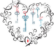 Heart, keyhole and keys. Concept for Valentine`s Day - heart, keyhole and keys Stock Photography