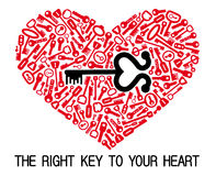 The heart with keys. The red heart with many keys Royalty Free Stock Photo