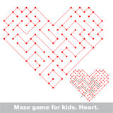 Heart - kid maze game. Search the way. Stock Photos