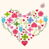 Heart from kids flowers Stock Photo