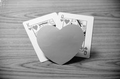 Heart and king queen card black and white color tone style Stock Photography