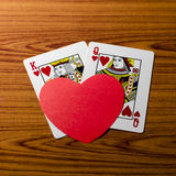 Heart and king queen card Stock Photo