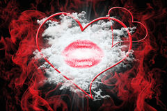 Heart and a Kiss With Red Smoke. Valentine`s Day Concept 3D Illu Royalty Free Stock Images