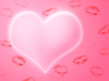 Heart and kisses. Illustration to Valentine's day Stock Images