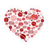 Heart of kisses. Illustration of valentines heart composed of many mouths Stock Photos