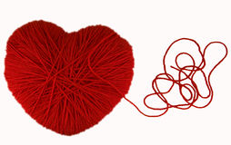 Heart of Knitting. On white background Stock Photos