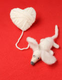 Heart of knitting with cute felt mouse Stock Photography