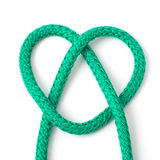 Heart from knot. Heart from green knot on white background Royalty Free Stock Photo