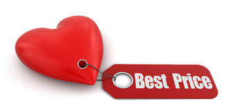 Heart with label Best Price (clipping path included) Stock Photos