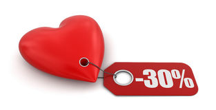 Heart with label -30% (clipping path included) Stock Photos