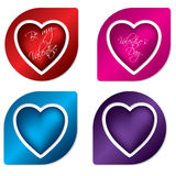 Heart label design set Stock Photos