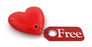 Heart with label Free (clipping path included) Royalty Free Stock Photography