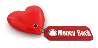 Heart with label Money Back (clipping path included) Stock Photography