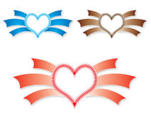 Heart lables. Its new heartin shapes like lables. or having wings can use as symbols of offering love to some one Royalty Free Stock Photography