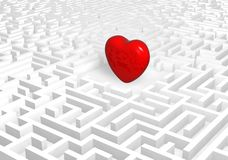Heart into labyrinth. Stock Photography