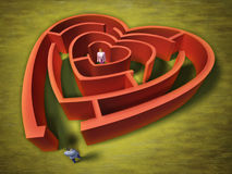 Heart labyrinth. A man entering an heart shaped labyrinth. Digital illustration stock illustration