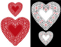 Heart Lace Doilies. Romantic red and white lace hearts for Valentines day, Mothers Day, anniversary, birthdays sewing, arts and crafts, scrap books and Royalty Free Stock Images