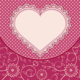 Heart lace frame and dotted background Stock Photos