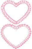 Heart lace frames. Royalty Free Stock Images