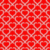 White Lace Hearts Seamless Red Background. Heart lacy frames wallpaper pattern on a red background. Seamless texture background Royalty Free Stock Photography