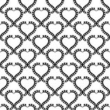 Black and White Lace Hearts Seamless Texture. Heart lacy frames wallpaper pattern on a white background. Seamless texture background Royalty Free Stock Photos