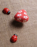 Heart and ladybug on the fabric Royalty Free Stock Images