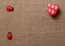 Heart and ladybug on the fabric Stock Image