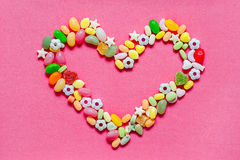 Heart laid out candy Stock Photo