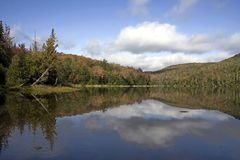 Heart Lake in the Adirondacks. This early autumn picture was taken in the High Peaks Region of the Adirondacks at Heart Lake Royalty Free Stock Photo