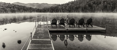 Heart Lake Dock Black and White Panorama Stock Photography