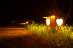 A heart lamp. A heart shape lamp taken in the midle of the night Royalty Free Stock Image