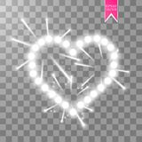 Heart of the lamps ith luminous fireworks on a transparent background. Valentines day card. Heart with inscription I. Love You. Vector illustration EPS 10 Royalty Free Stock Photo