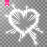 Heart of the lamps ith luminous fireworks on a transparent background. Valentines day card. Heart with inscription I. Love You. Vector illustration EPS 10 Stock Images