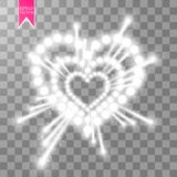 Heart of the lamps ith luminous fireworks on a transparent background. Valentines day card. Heart with inscription I. Love You. Vector illustration EPS 10 Stock Photography